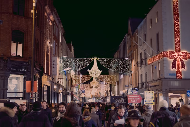 Crowd In Grafton Street, Dublin During The Christmas Period